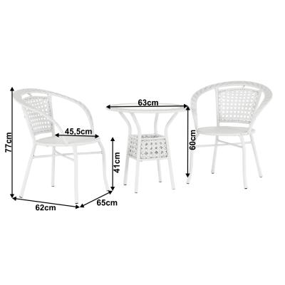 Set tehno-rattan de gradina masa 2 scaune alb JENAR1