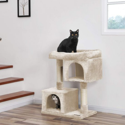 Ansamblu de joaca cu doua case pentru pisici PCT61M6