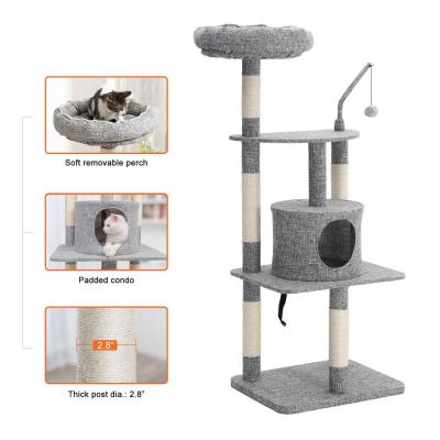 Ansamblu de joaca cu pat si pestera pentru pisici PCT64W [2]