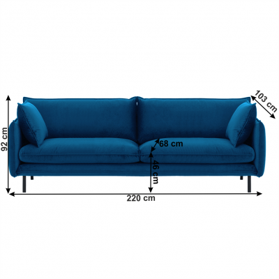 Canapea de lux cu 3 locuri albastru parizian VINSON 33