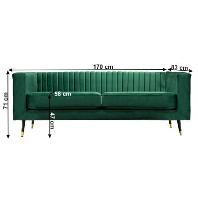 Canapea velvet cu 2 locuri verde smarald SOMY 2 [2]