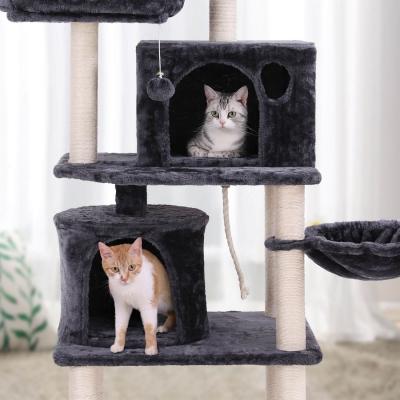 Ansamblu de joaca cu doua paturi si doua case pentru pisici PCT90G2