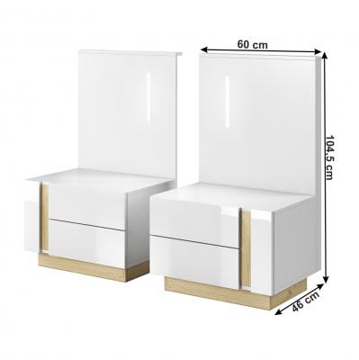 Set dormitor complet culoare alb/stejar CITY3