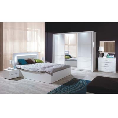 Set dormitor dulap pat 160x200 noptiere alb/alb lucios HG ASIENA0