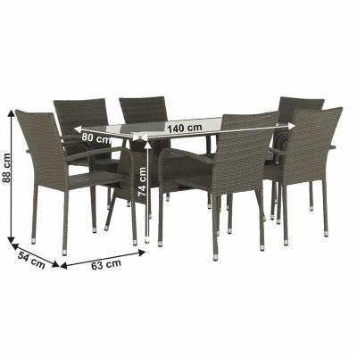 Set tehno-rattan de gradina masa 6 scaune gri OBSOR1