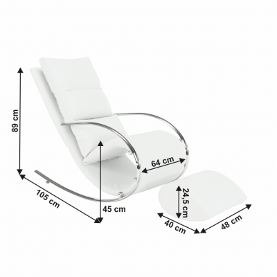 Fotoliu balansoar piele eco alba cadru metal ROGER4
