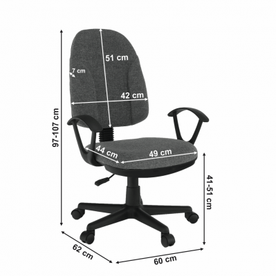 Scaun de birou tapitat rotativ DEVRI [3]