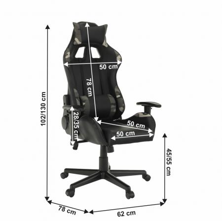 Scaun de gaming reglabil tapitat EMRE12