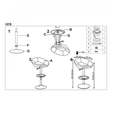 Scaun inalt de bar reglabil pe inaltime tapitat HM H153