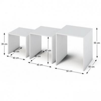 Set de 3 masute auxiliare albe SIPANI1