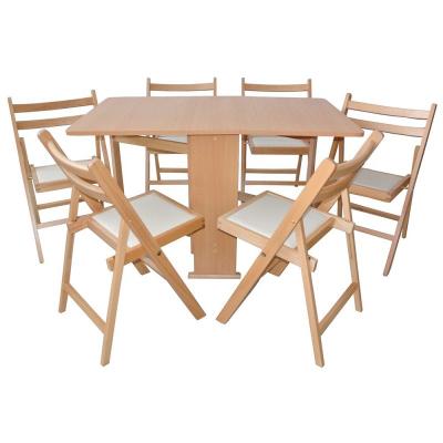Set masa pliabila PRACTIC cu 6 scaune Natur0