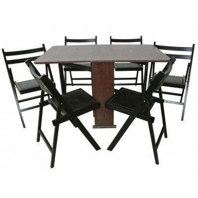 Set masa pliabila PRACTIC cu 6 scaune Wenge0