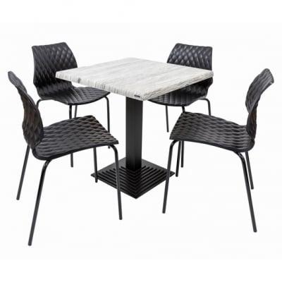 Set terasa outdoor masa BOSTON URBAN SPRUCE 70x70 cu scaune UNI 5500