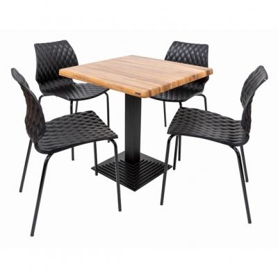 Set terasa outdoor masa BOSTON WASHED ELM 70x70 cu scaune UNI 5500