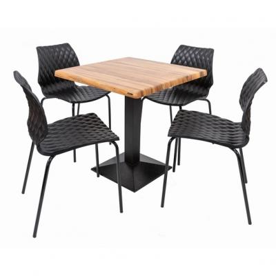Set terasa outdoor masa CARDIFF WASHED ELM 70x70 cu scaune UNI 5500