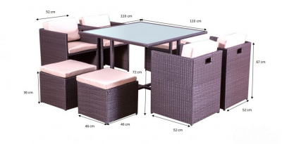 Set terasa/outdoor tehno-rattan CRISTALLO Dark Brown1
