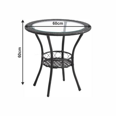 Set tehno-rattan de gradina masa 2 scaune maro LASAN2