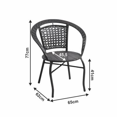Set tehno-rattan de gradina masa 2 scaune maro LASAN1