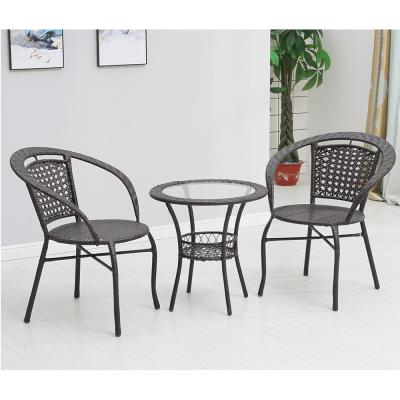 Set tehno-rattan de gradina masa 2 scaune maro LASAN9
