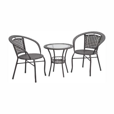 Set tehno-rattan de gradina masa 2 scaune maro LASAN0