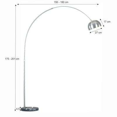Lampă semicerc oţel / marmură neagră CINDA TYP 16 F1034-M1
