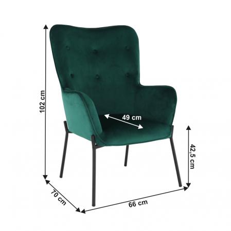 Fotoliu tapitat metal verde smarald SURIL1