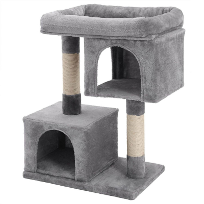 Ansamblu de joaca cu doua case pentru pisici PCT61W0