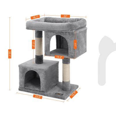 Ansamblu de joaca cu doua case pentru pisici PCT61W4