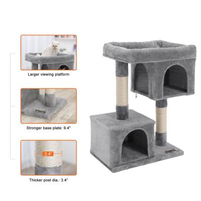 Ansamblu de joaca cu doua case pentru pisici PCT61W3