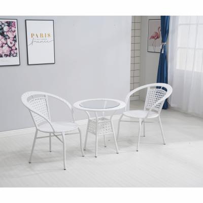Set tehno-rattan de gradina masa 2 scaune alb JENAR9