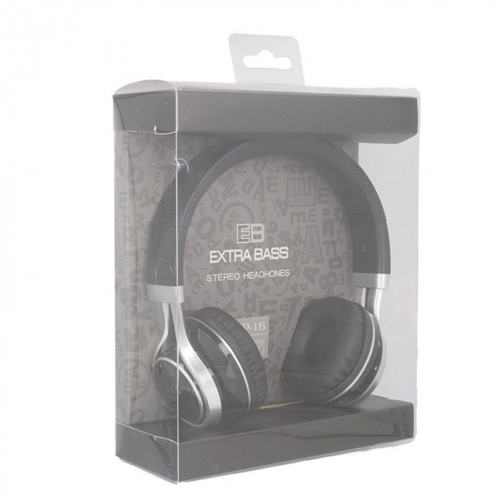Casti Audio Extra Bass EP-16 cu microfon incorporat - negru 7