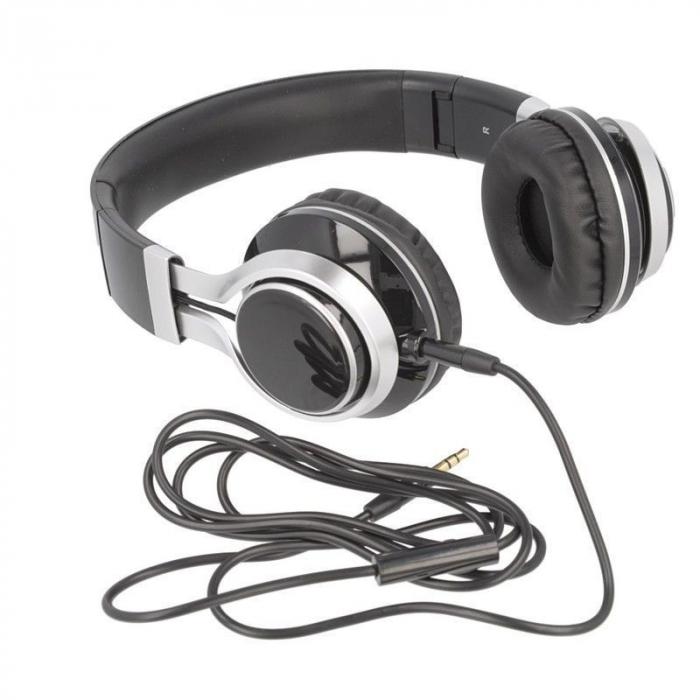 Casti Audio Extra Bass EP-16 cu microfon incorporat - negru 5
