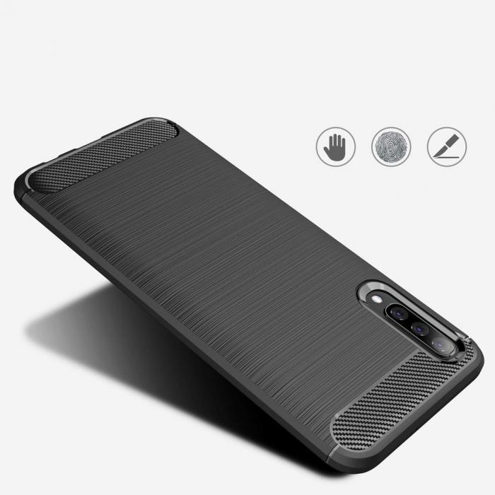 Husa Samsung Galaxy A50 - TPU Carbon Fibre Brushed - albastru [4]