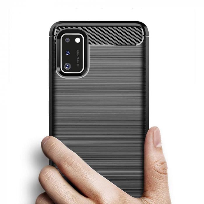 Husa Samsung Galaxy A41 - Tpu Carbon Fibre Brushed - negru [1]