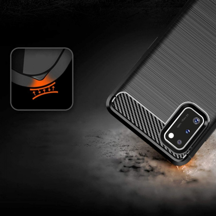 Husa Samsung Galaxy A41 - Tpu Carbon Fibre Brushed - negru [3]