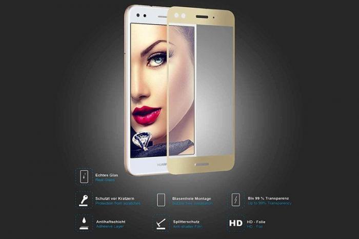 Folie Sticla Securizata Full Screen Huawei P9 Lite Mini 2017 - gold 4