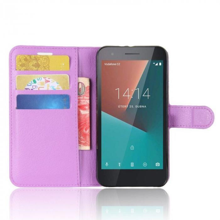 Husa flip din piele eco Crazy Horse Vodafone Smart E8 - mov 5