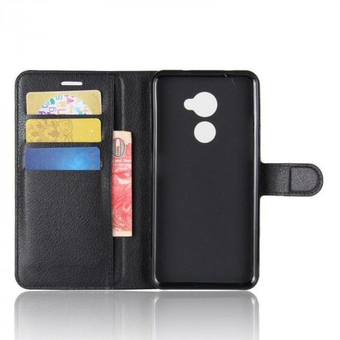 Husa flip din piele eco Crazy Horse Vodafone Smart V8 - negru 3