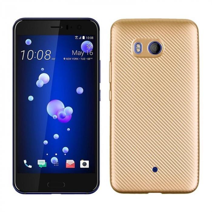 Husa HTC U11 - Tpu Carbon - gold 0