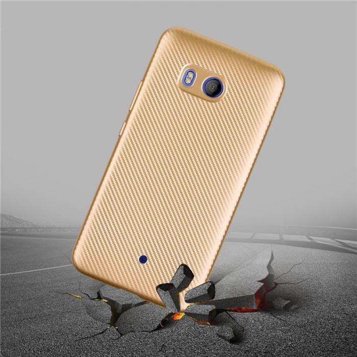 Husa HTC U11 - Tpu Carbon - gold 2