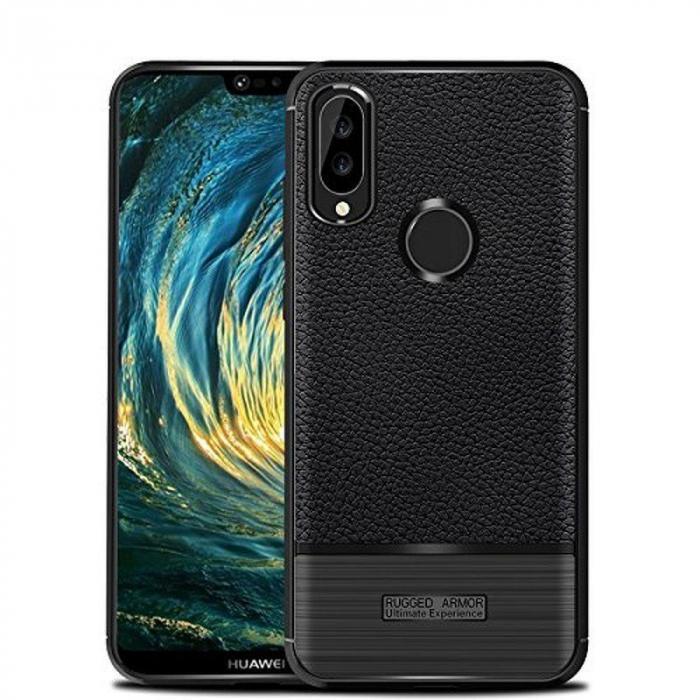 Husa Huawei P20 Lite Grain Silicon Tpu - negru 0
