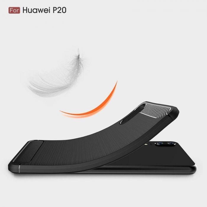 Husa  Huawei P20 Tpu Carbon Fibre Brushed - rosu 3