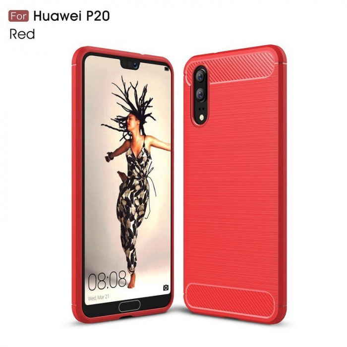 Husa  Huawei P20 Tpu Carbon Fibre Brushed - rosu 1