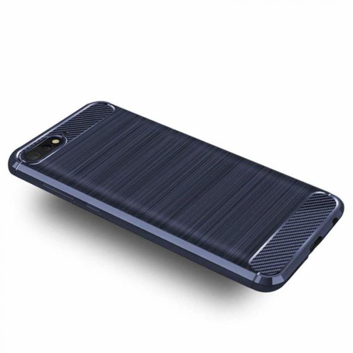 Husa Huawei Y6 ( 2018 ) Silicon Tpu Carbon Brushed - albastru 1