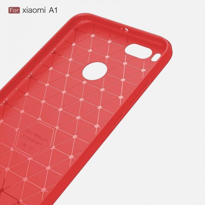 Husa  Husa Xiaomi A1 / Mi 5X Silicon Tpu - Carbon Fibre Brushed - rosu 3