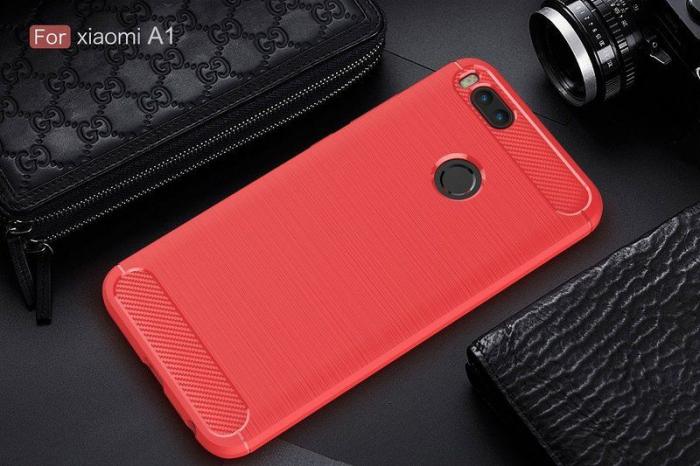 Husa  Husa Xiaomi A1 / Mi 5X Silicon Tpu - Carbon Fibre Brushed - rosu 4