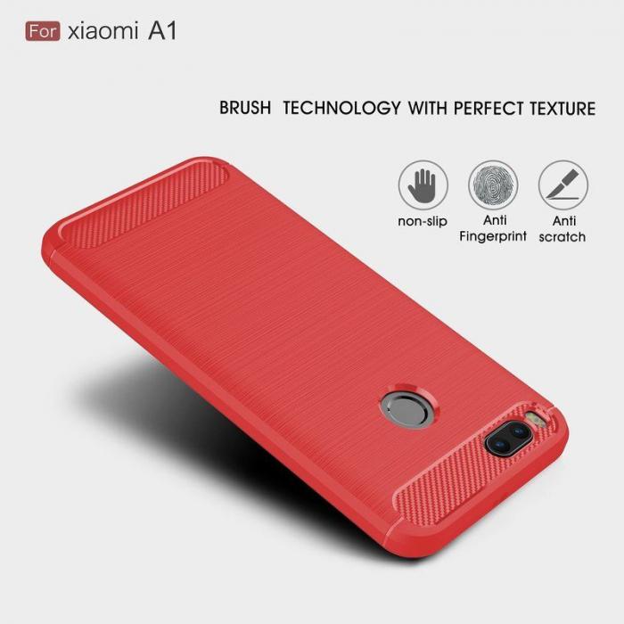 Husa  Husa Xiaomi A1 / Mi 5X Silicon Tpu - Carbon Fibre Brushed - rosu 1