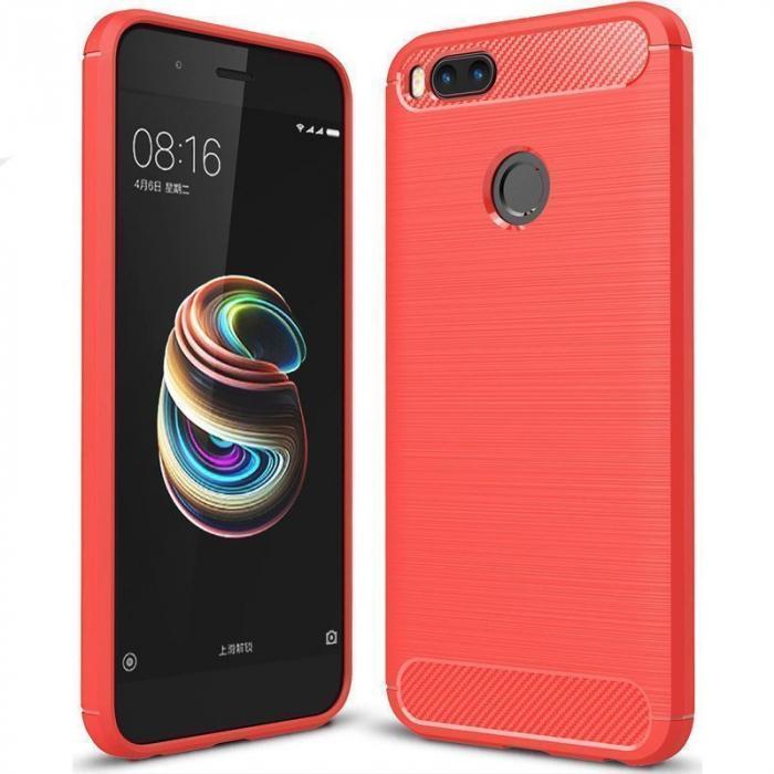 Husa  Husa Xiaomi A1 / Mi 5X Silicon Tpu - Carbon Fibre Brushed - rosu 0
