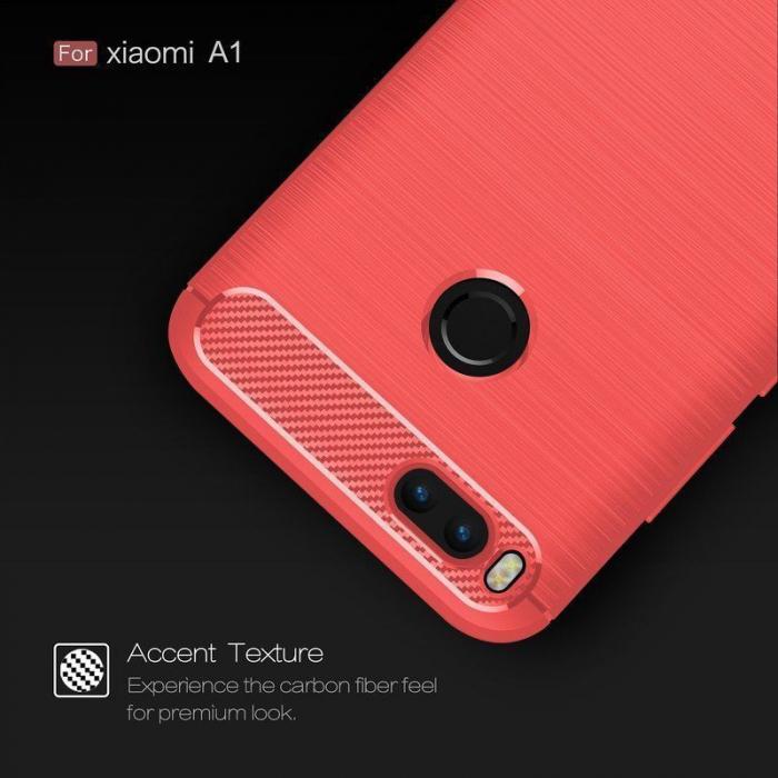 Husa  Husa Xiaomi A1 / Mi 5X Silicon Tpu - Carbon Fibre Brushed - rosu 2