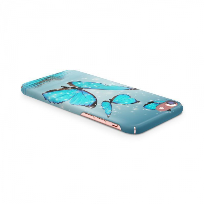 Husa iPhone 7 Custom Hard Case Blue Butterflys 3
